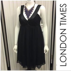 Black Sheer Lined Dress By London Times